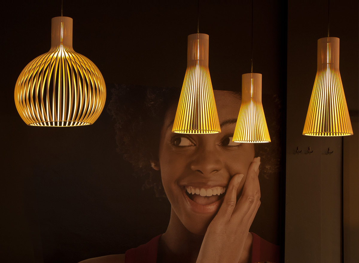Secto Design lamps are used in restaurants worldwide for a warm atmosphere.