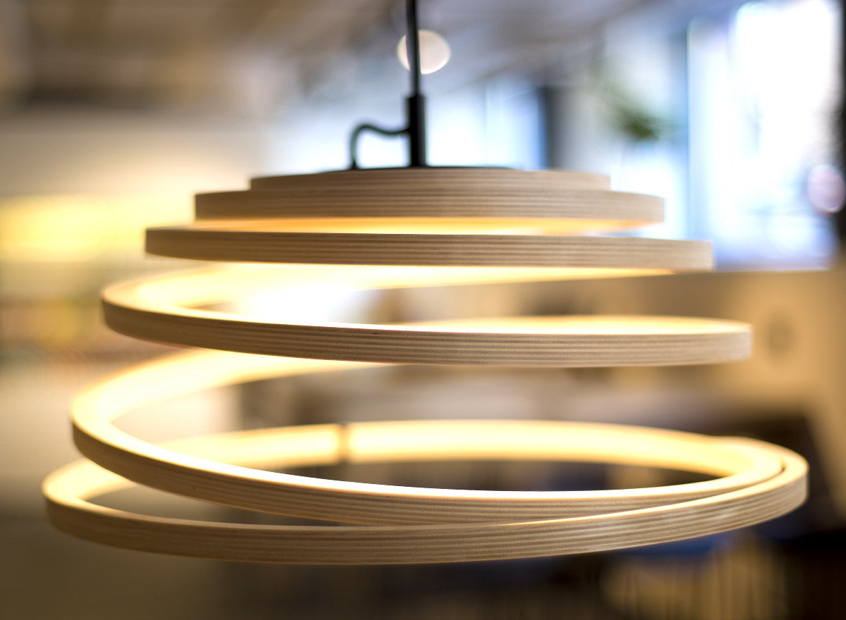 The playful Aspiro spiral lamp in a restaurant.